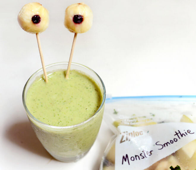 Add banana and blueberry 'eyes' on sticks for a monster morning green smoothie