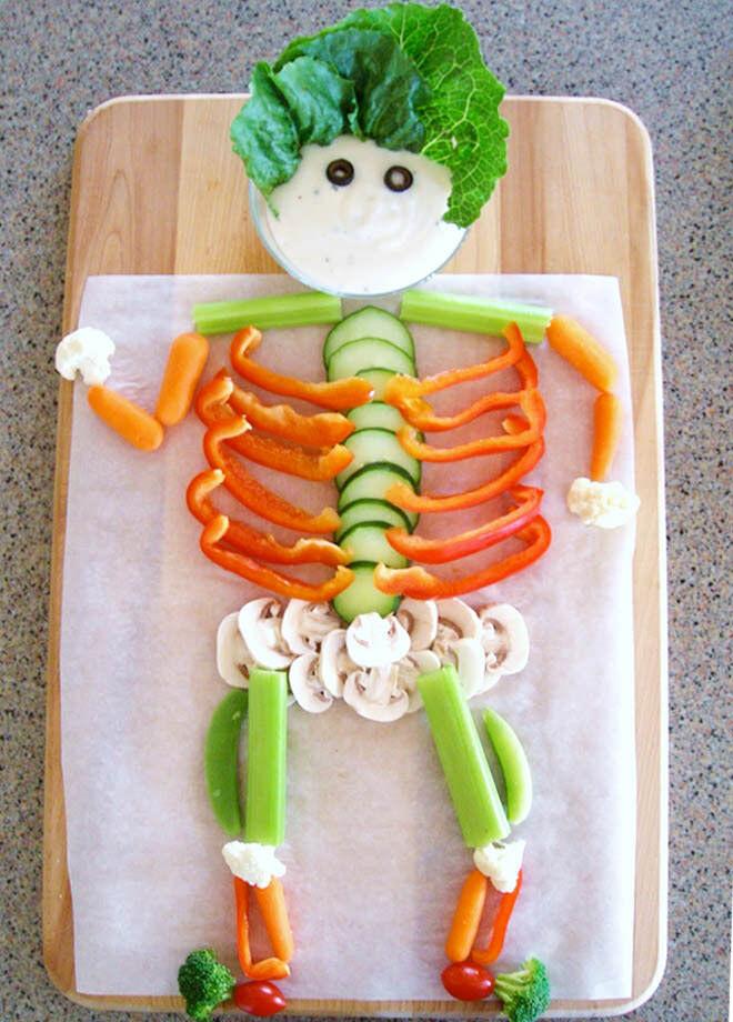 Dem bones, dem bones, dem veggie bones? Serve up a skeleton salad on Halloween and it's guaranteed to vanish in seconds!