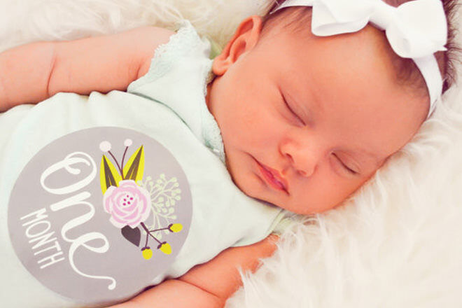 Hand-crafted stickers from Etsy can be used with a white tee or onesie to easily highlight month-by-month growth of your bubba.