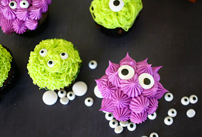 Monsters are yummier when they are made with icing and cupcakes. And cuter too.