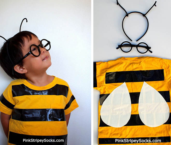 Buzz from house to house this Halloween with a duck taped yellow Tshirt Bee costume