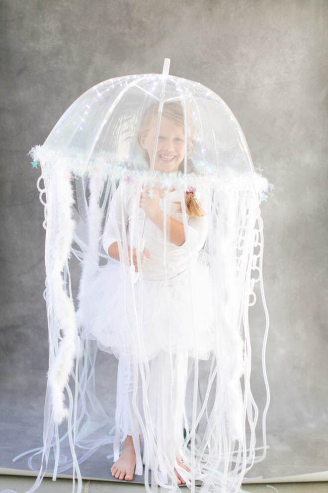 White tutu, leggings and umbrella make a brilliant jellyfish costume for Halloween
