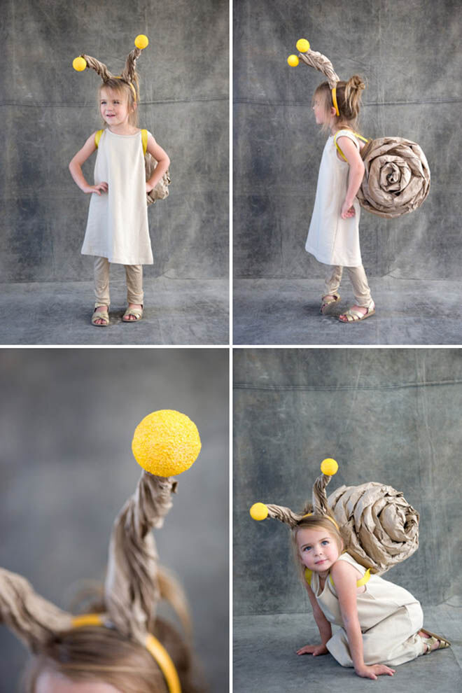 Rolled brown paper makes the perfect snail tail and anteners for this adorable Halloween costume