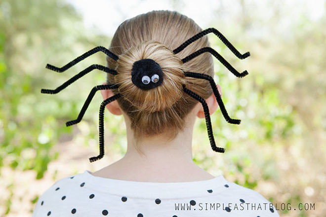 Keep it understated this Halloween with a spider bun. Cool!