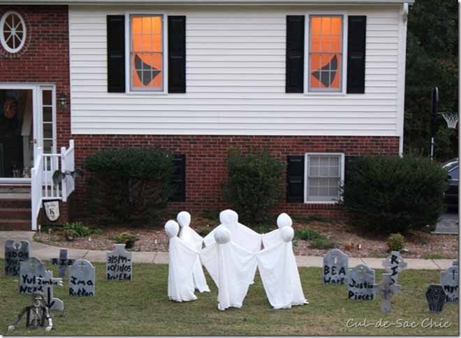 Tomb stones and ghosts in the back yard? We're scared!