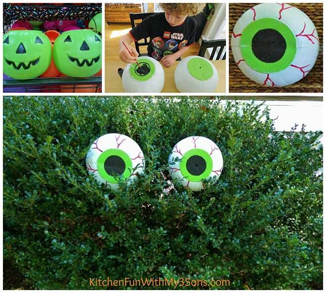 Plastic bloody eye balls peaking out from in your bushes will give everyone a fright on Halloween!