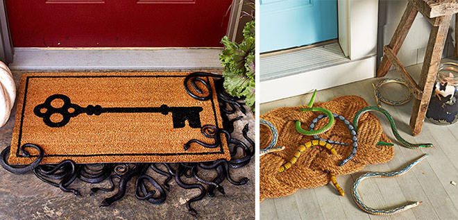 Plastic snakes under your doormat make a squeel-worthy entrance to the Halloween party