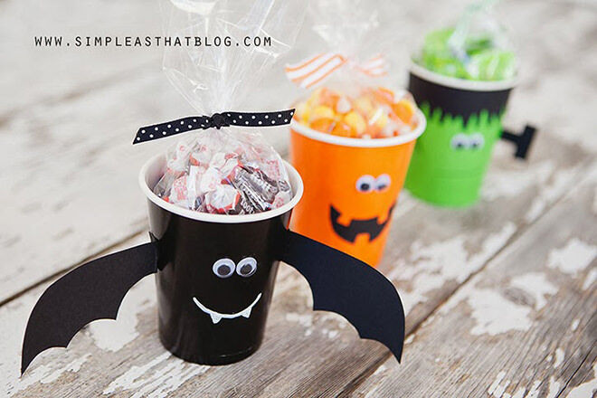 Give the Halloween cups some character with goggly eyes and mega fun faces.