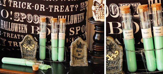 Give out jars of slimy fun at your Halloween party for those who like to play with monster goo and snail sludge.