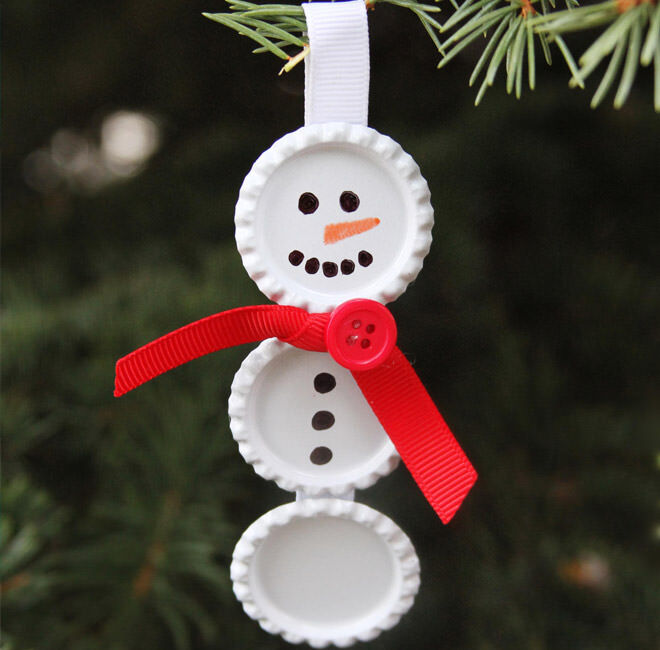 Use old bottle caps painted white to whip up a snowman with your kiddos