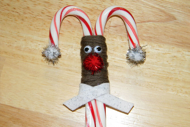 Spend an easy crafternoon whacking together these cute lil' candy cane reindeer ornaments