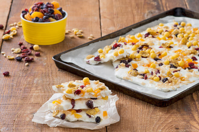 Add a little cereal to your yummy yoghurt bark for a little crunch and yum!