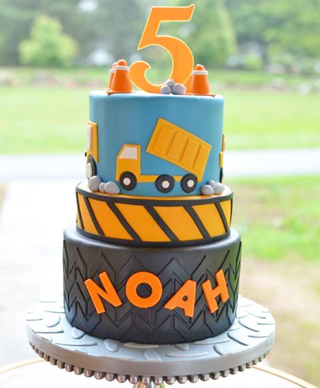 Three-tiered construction birthday cake