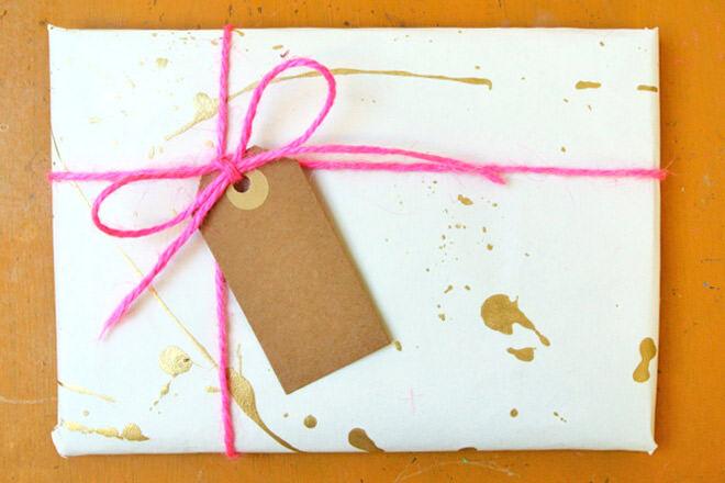 Gold splatter gift wrap