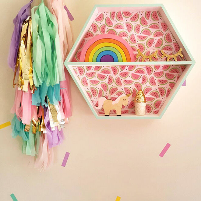 Easy Hack! Combining a watermelon motif paper with pastel paint makes this wall mounted shadow box from Kmart bang on trend!