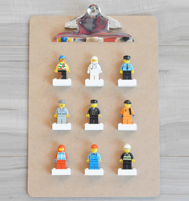 Displaying LEGO men on clipboards and make it easy for the kids to reach and played with them