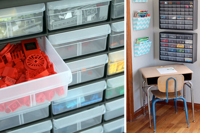 mounted tool organisers to the wall and put each colour of LEGO into different drawers.