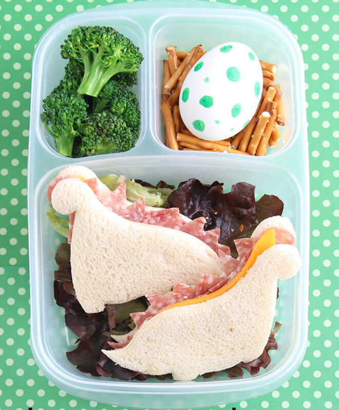 Little nippers will nibble away these dinosaur sandwiches in seconds. Make with any filling you have handy in the fridge and cut for effect.