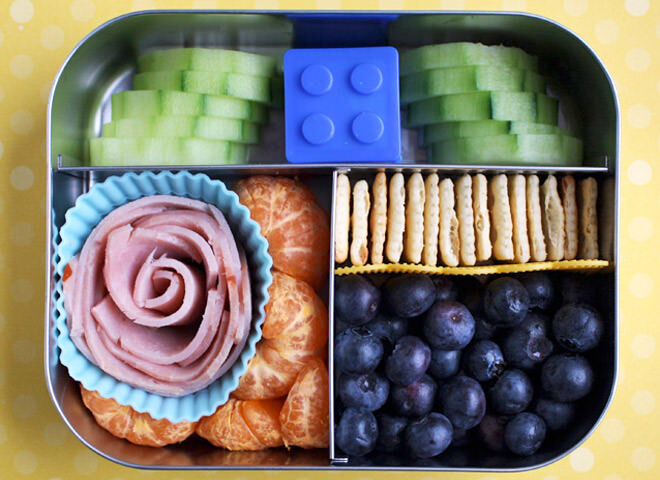 Use cake cases to separate proteins like ham, chicken or turkey and stack cucumber slices together so they stay fresh until its time to eat. Yum!