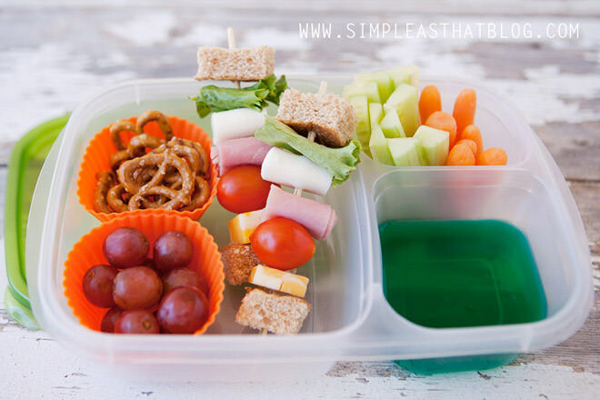 How about a de-constructed sandwich? Turn their usual sandwich into a fun snack by chopping the elements into bite-sized pieces and placing on sticks. Simple!