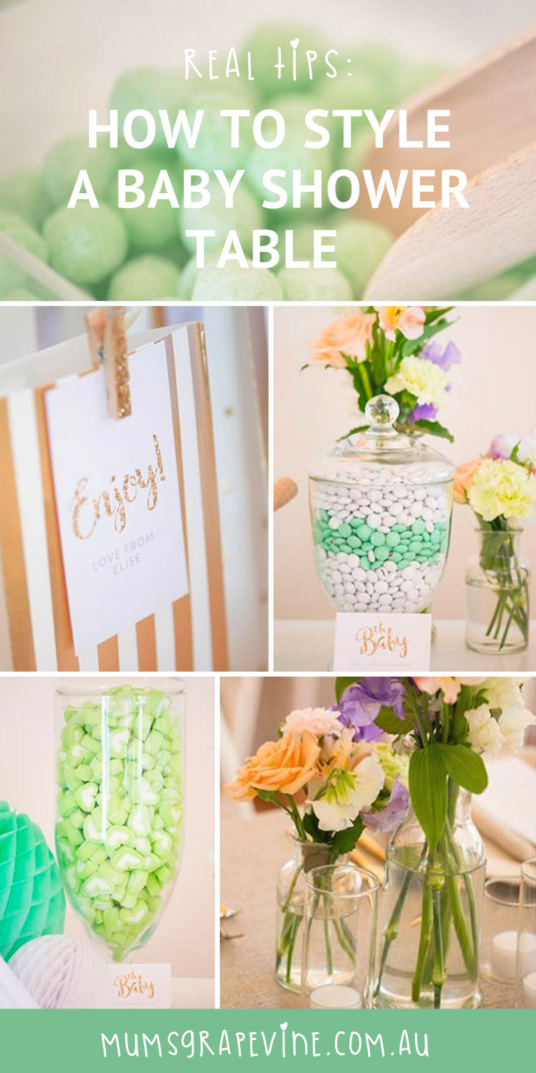 How to style a baby shower dessert table