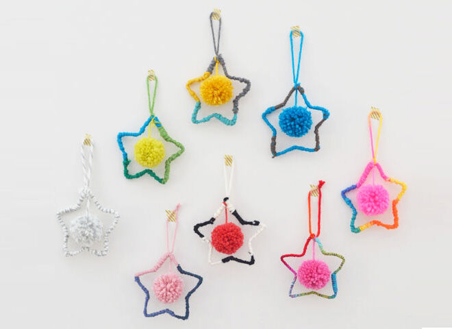 The good ol' pipe cleaner forms the base of these gorgeous woolly star ornaments with handmade pom poms.
