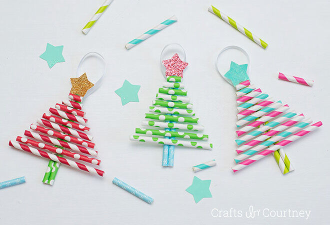 This paper straw tree ornament is super easy to put together