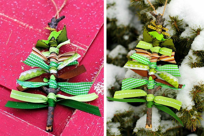 Wrap ribbon around sticks to make these twiggy Christmas tree ornaments. Perfect for kiddies learning to tie their shoes!