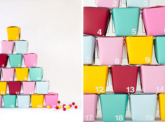 Just because traditionally Christmas is red and green doesn't mean you have to follow that. Why not throw some bright colours in this Christmas with a DIY advent calendar using take away containers.