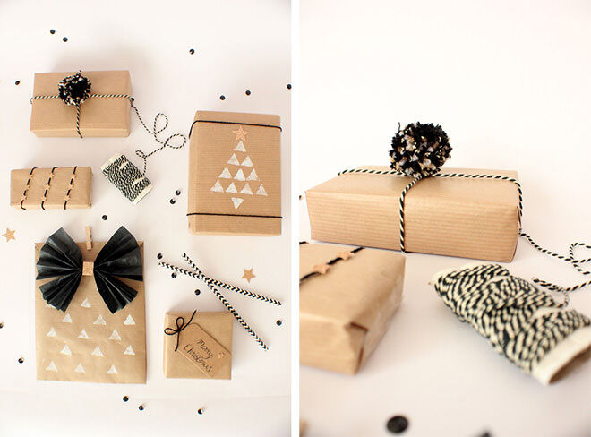 Monochrome gift wrap ideas with brown paper