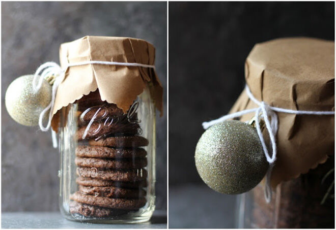 Wrap some brown paper and an ornament around the top of your edible Christmas gifts