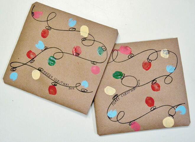 Fairy light Christmas paper - Simply draw the string and get your child's finger to do all the lights.