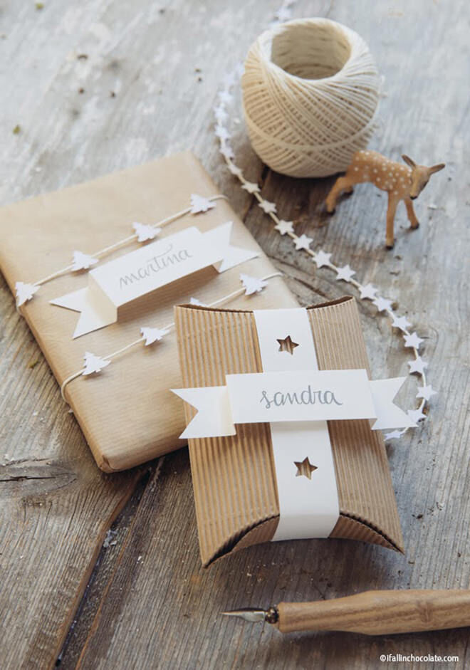 Download a template for sweet name tags and take brown paper from boring to wow in one easy step!