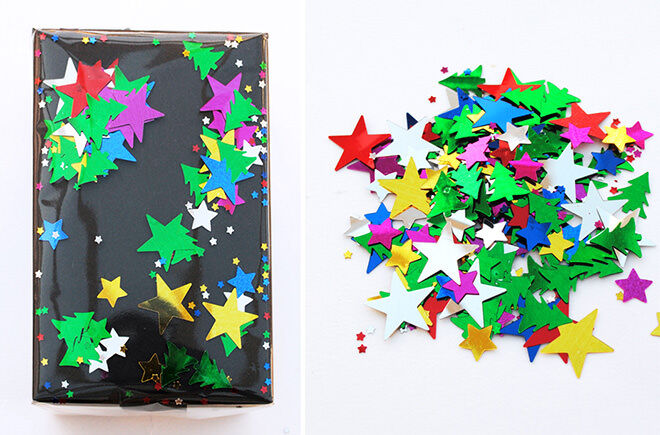 Wrap your gifts with a layer of paper and a layer of cellophane with confetti in between