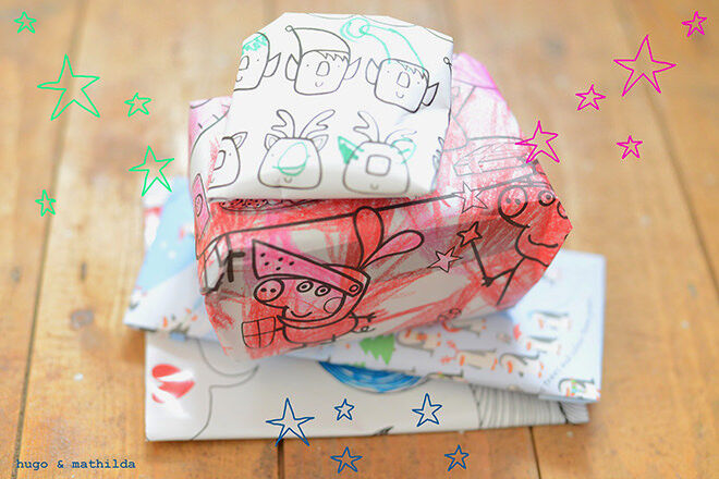 Re-use you kids artwork by making it into a personalised gift wrap