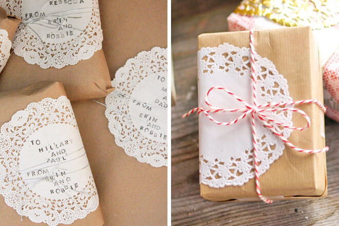 Gift wrap ideas with paper doily