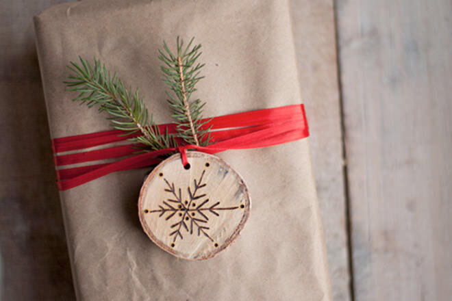Simple Etched Wooden Slice and Red Ribbon