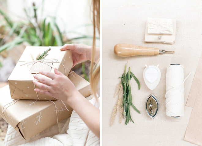 Stamp gift wrapping ideas from The Pretty Blog