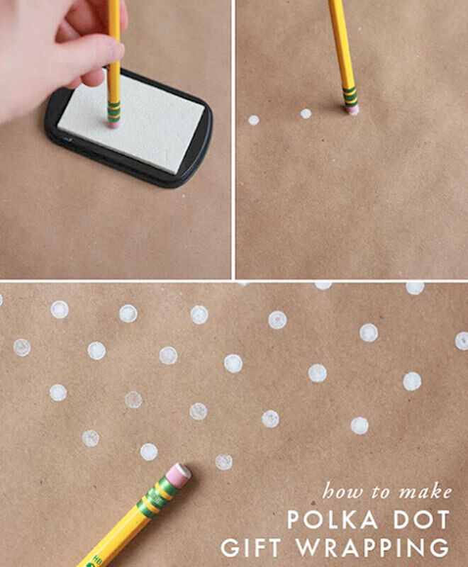 Use the eraser on the end of a pencil to make little snowy dots on your paper.