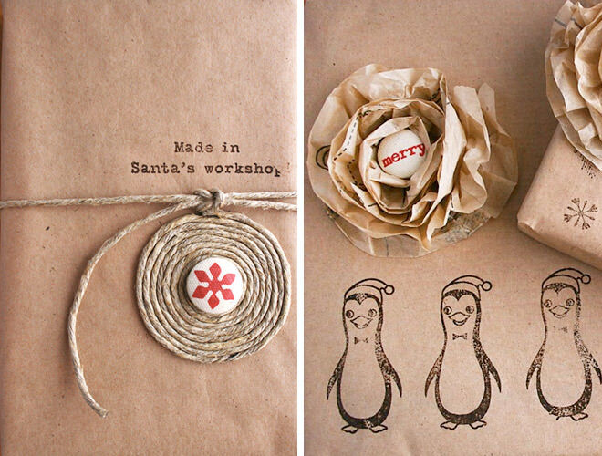 Adorable gift wrap idea with brown paper