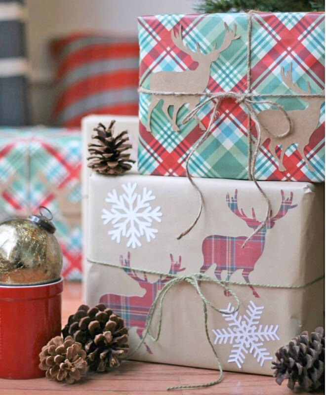Tartan and brown paper traditional gift wrap idea