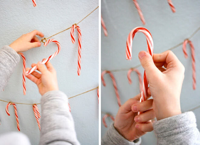 DIY candy cane Christmas garland