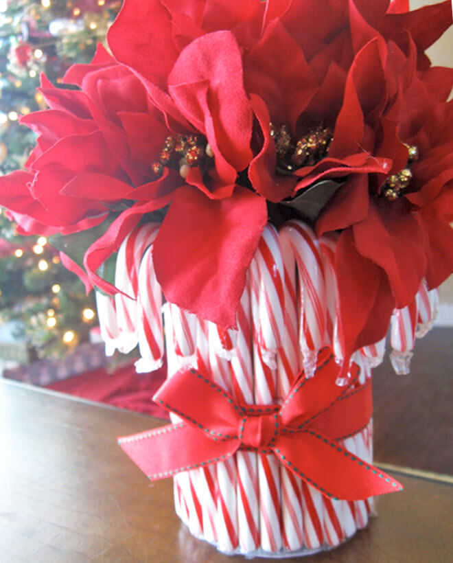 DIY candy cane Christmas vase