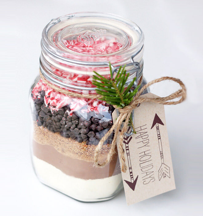 Candy cane hot chocolate jar