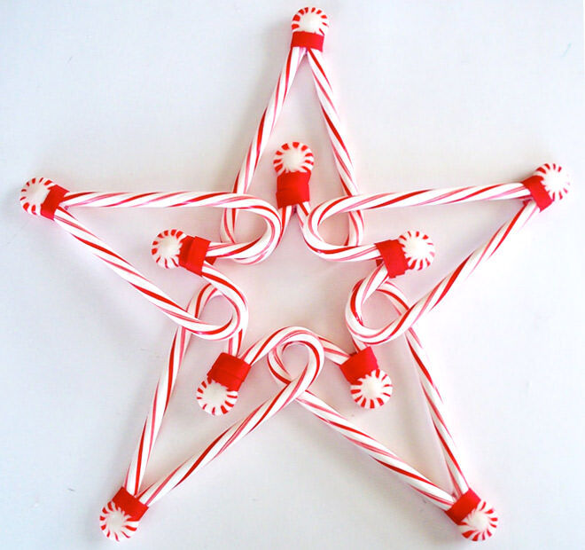 DIY candy cane star decoration