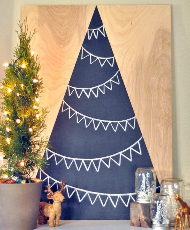Painted plywood makes an alternative Christmas Tree