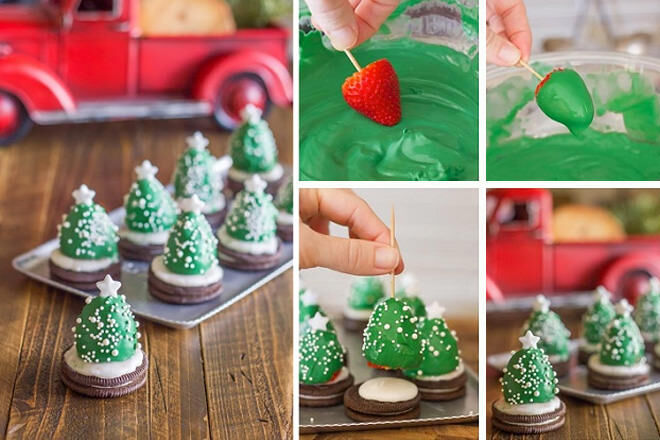 christmas tree bites made from strawberries and biscuits