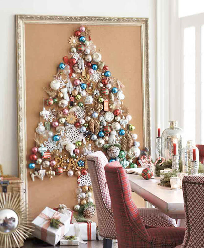 Gather all your Christmas ornaments to make a great Christmas tree alternative