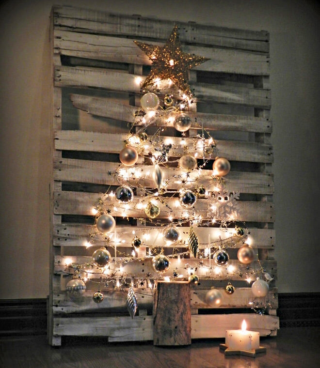 Recycled palate alternative Christmas tree with string lights