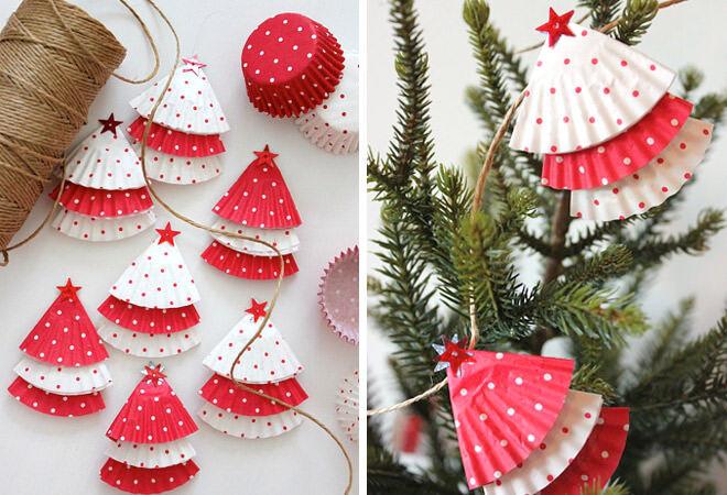 Easy, inexpensive DIY Cupcake Christmas Garland